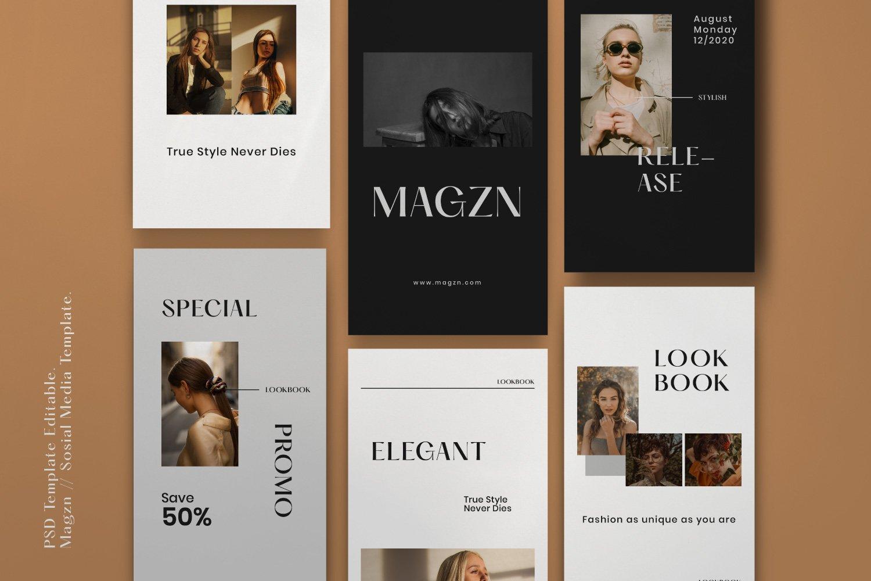 时尚服装品牌摄影推广新媒体海报设计PSD模板 MAGZ – Fashion Brand Social Media插图(3)