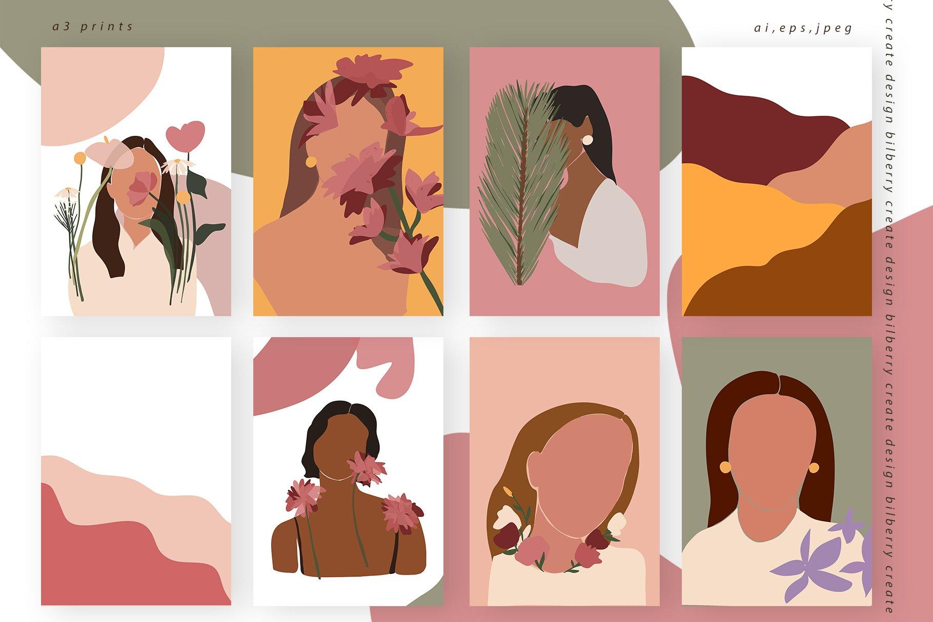 85多个抽象女孩风景形状矢量图案素材 Child Of Flowers Abstract Portrait插图(3)