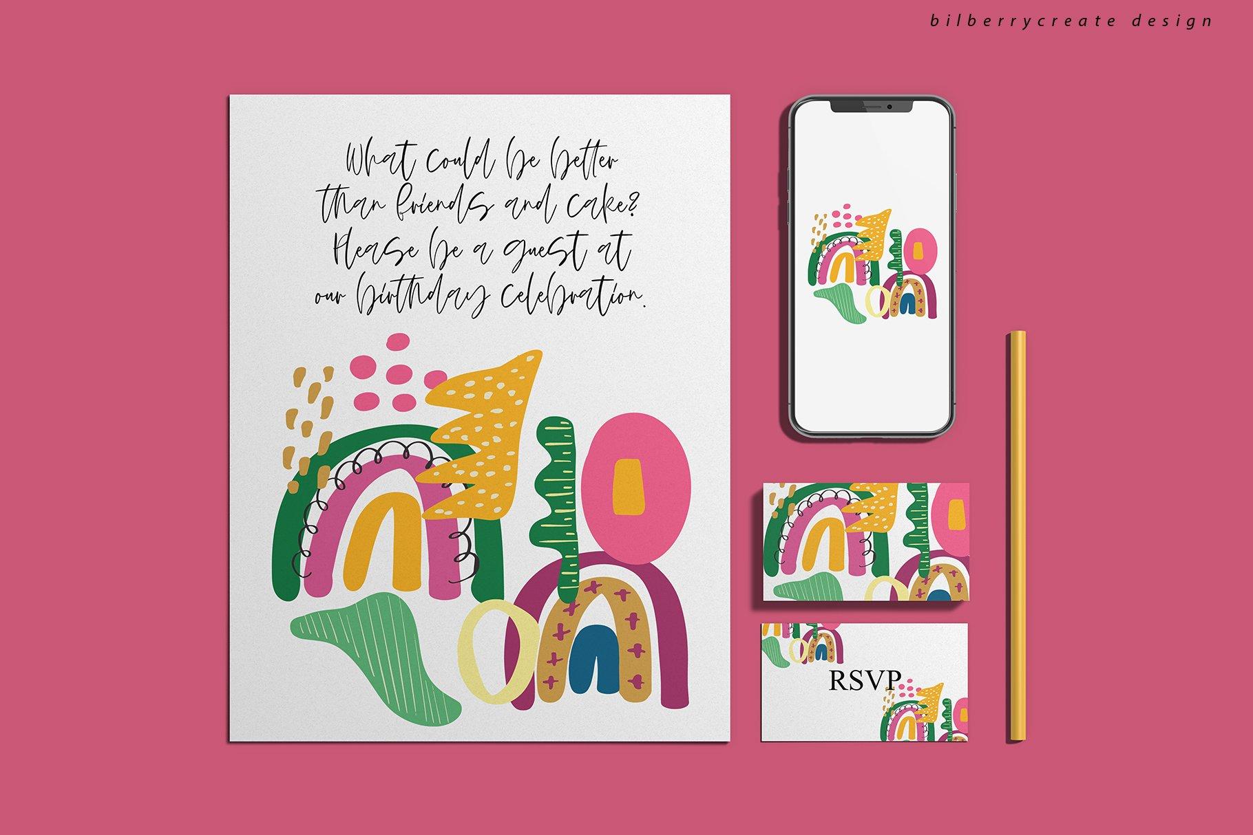 现代卡通抽象花卉彩虹元素矢量插图 Playful Naive Art Abstract插图(3)