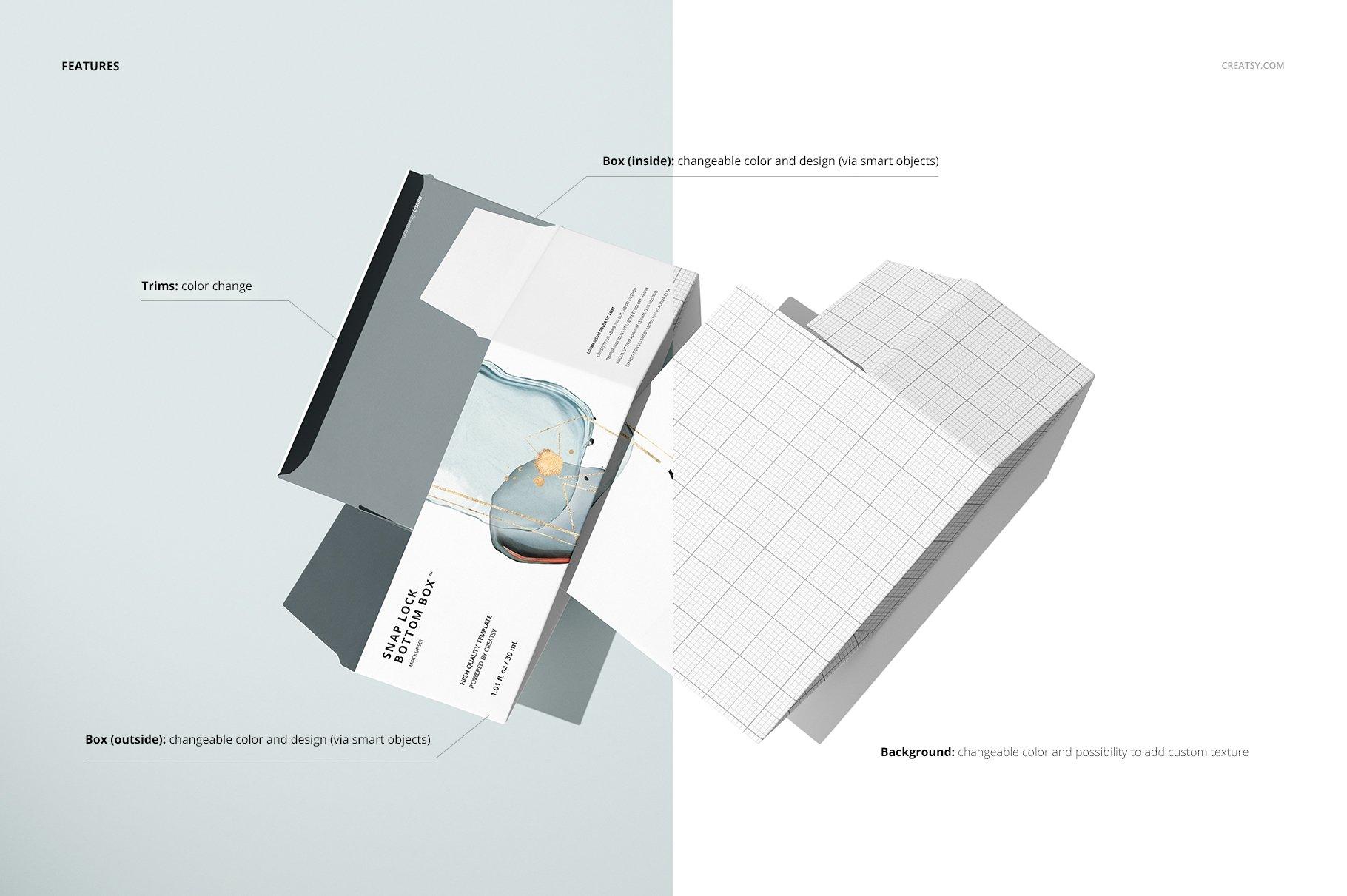 长矩形产品包装卡扣锁底纸盒样机集 Snap Lock Bottom Box Mockup Set插图(3)