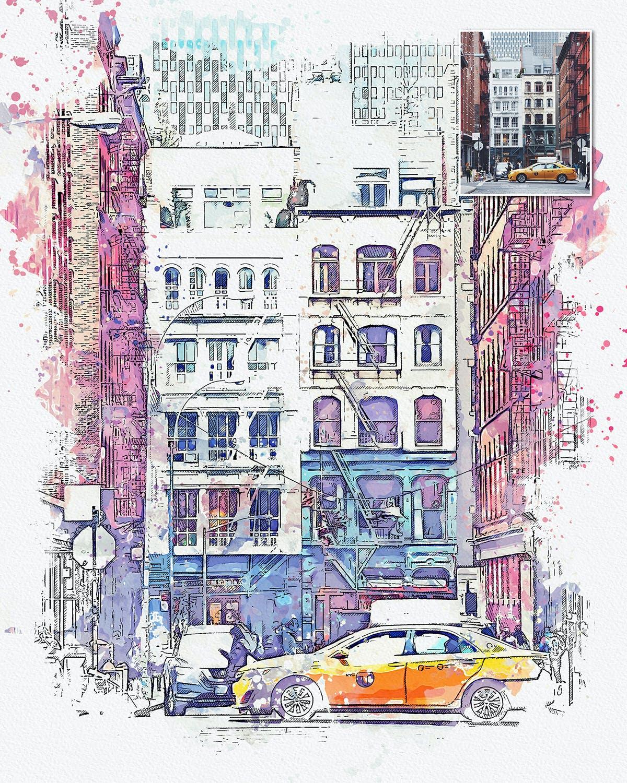 手绘水彩素描效果城市照片后期特效PS动作 Urban Sketch Photoshop Action插图(3)