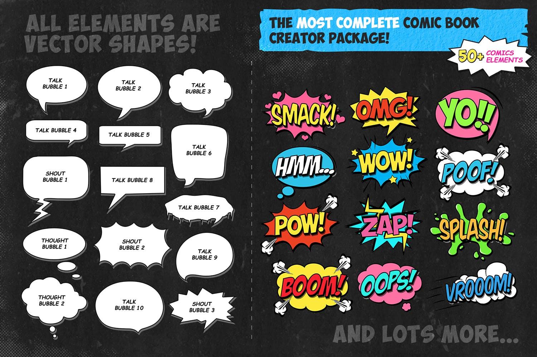 逼真复古手绘漫画效果照片后期处理特效PS动作 Retro Comic Book Photoshop Action Kit插图(3)