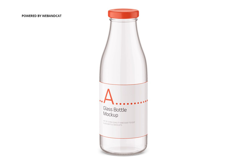 果汁牛奶玻璃瓶设计展示样机 Juice / Glass Bottle Mockup插图(3)