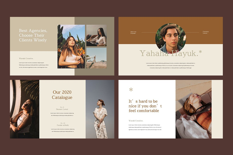 时尚服装造型设计作品集幻灯片模板 WARABI – Fashion Lookbook PowerPoint Template插图(3)