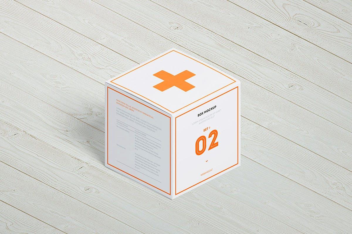 7款方形产品包装纸盒外观设计展示样机模板 Package Box Mockup: Square Box插图(3)