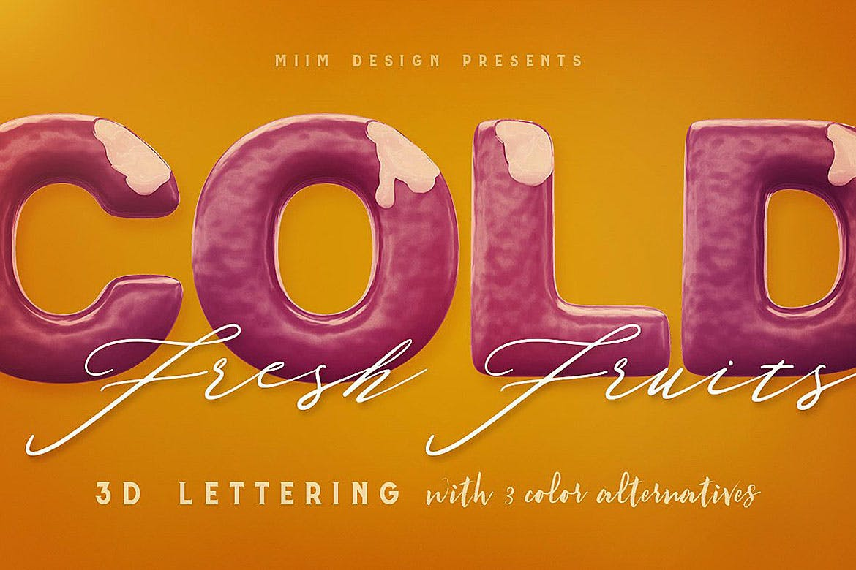 逼真高清3D冰激凌冰棍刻字效果PNG图片素材 Ice Cream – 3D Lettering插图(3)