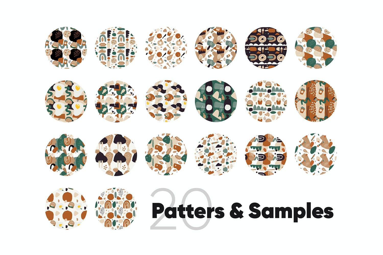 80多个抽象手绘食物包装印花矢量图案素材 Food Abstract Backgrounds & Patterns插图(3)