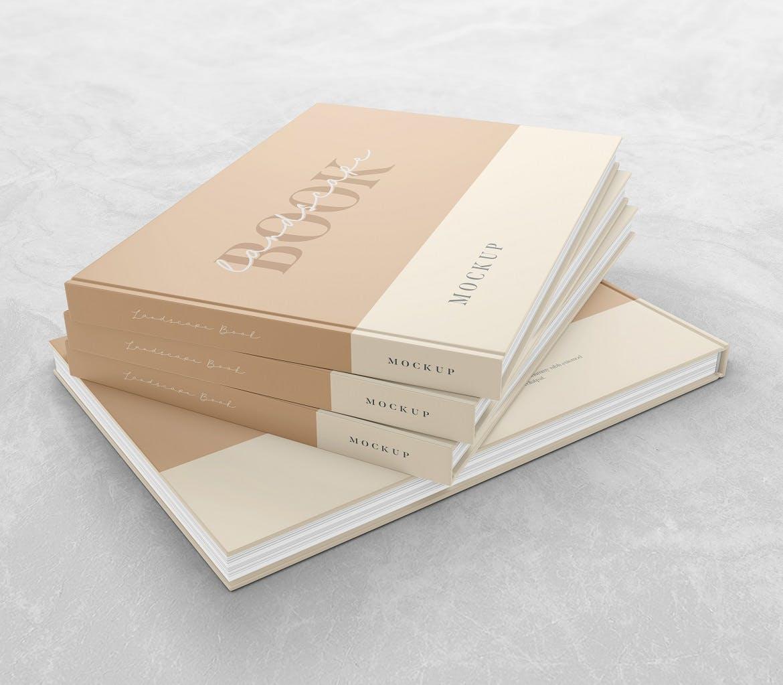 横版精装书画册设计展示样机 Landscape Book – Mockup插图(3)