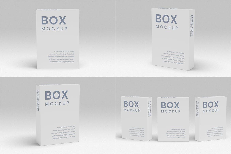 8款方形产品包装纸盒设计展示样机 Box Mockup 8 PSD Files插图(3)