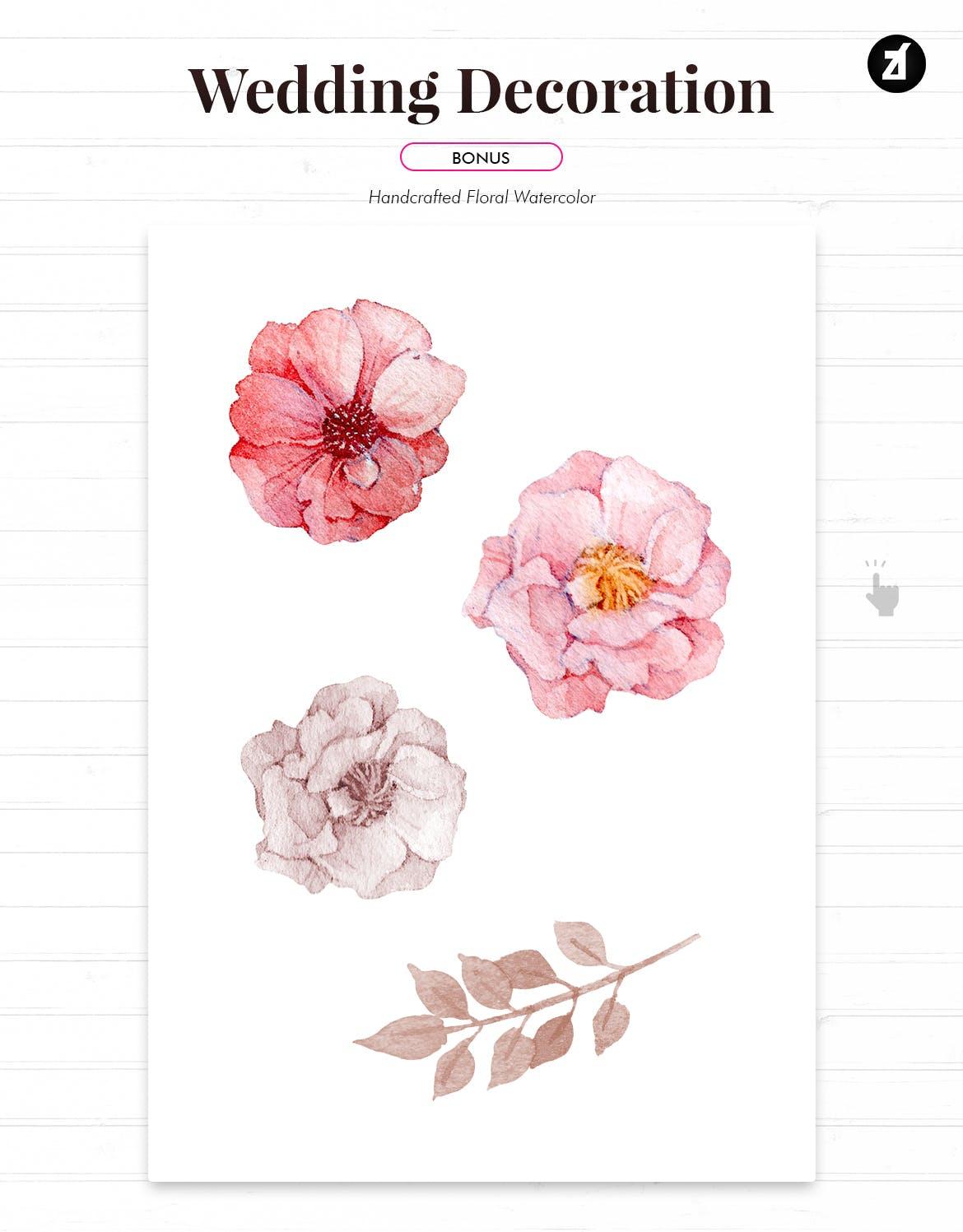 手绘水彩花卉效果婚礼邀请函贺卡卡片设计AI矢量模板 Floral Hand-drawn Watercolor Wedding Invitation插图(3)