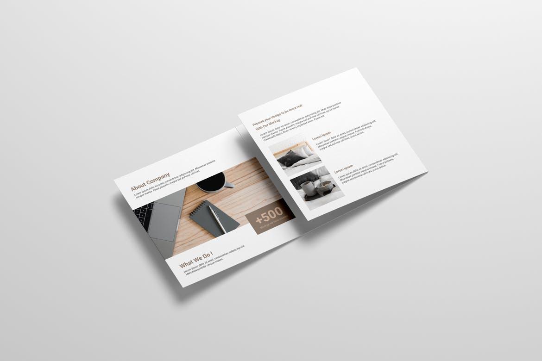 8款方形三折页小册子设计样机 Square Trifold Brochure Mockup插图(3)