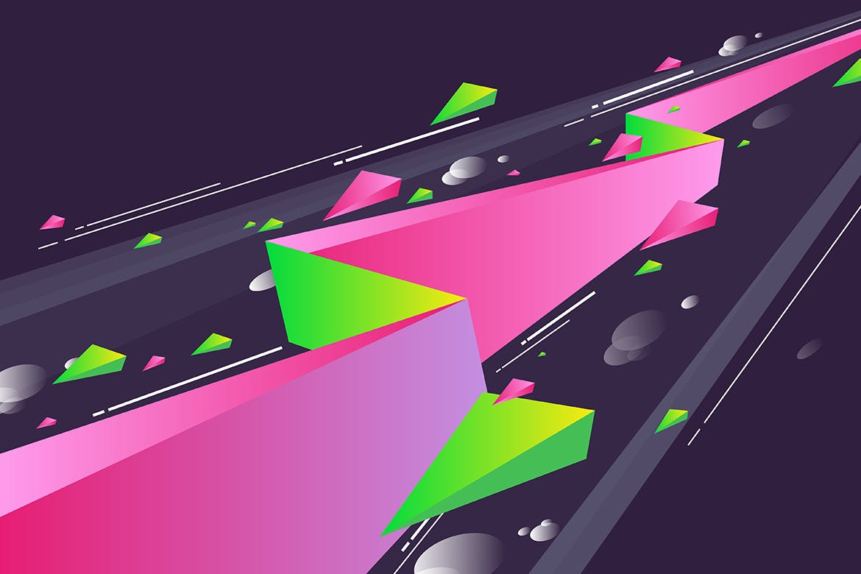 多彩抽象几何闪电矢量背景素材 Geometric Lightning Backgrounds插图(3)