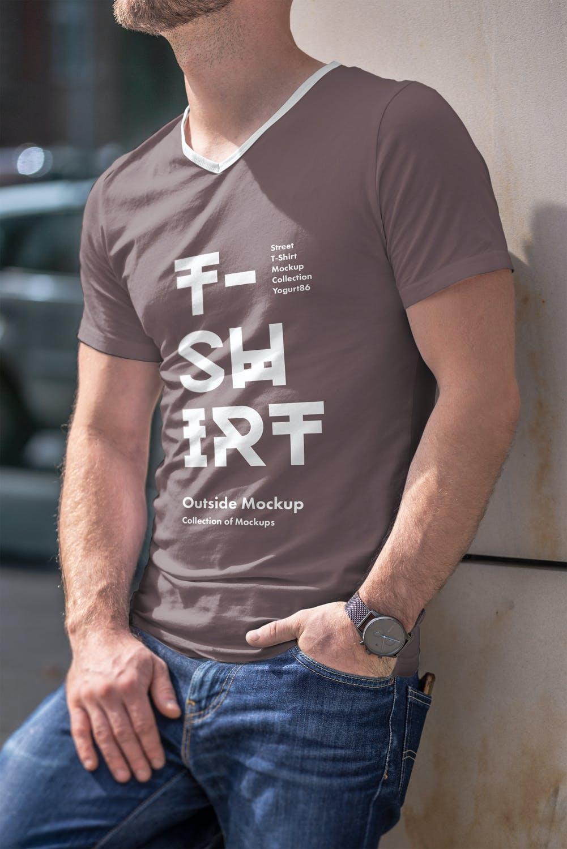 10款男士T恤印花设计展示样机模板 T-Shirt Mockup 5插图(3)