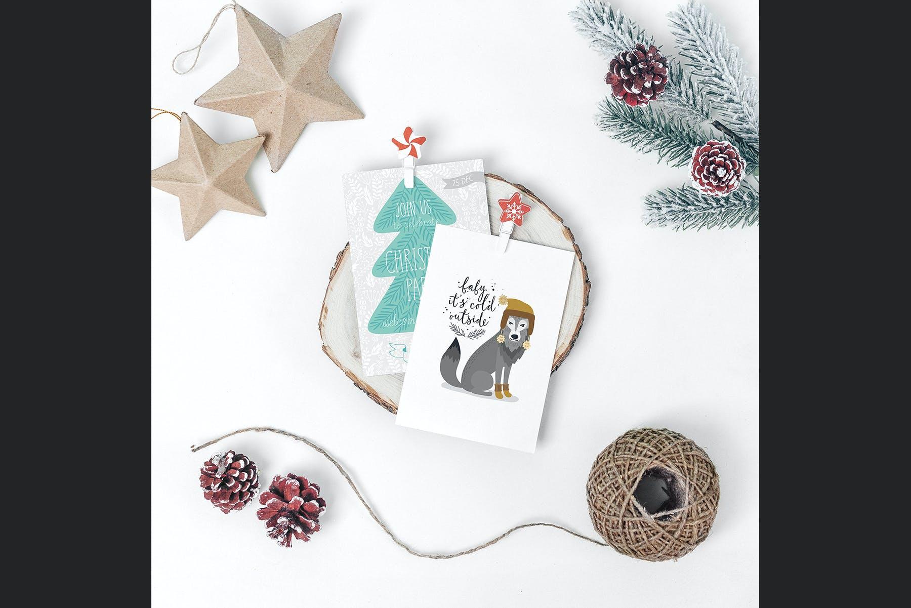 9款圣诞节贺卡邀请函设计展示样机合集 Christmas Mockup Collection Vol.2插图(3)