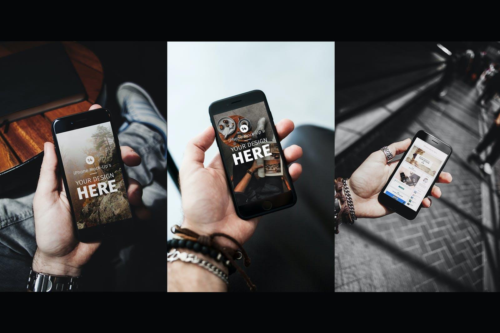14款APP应用界面设计iPhone 7屏幕演示样机模板 iPhone 7 Urban Edition插图(3)