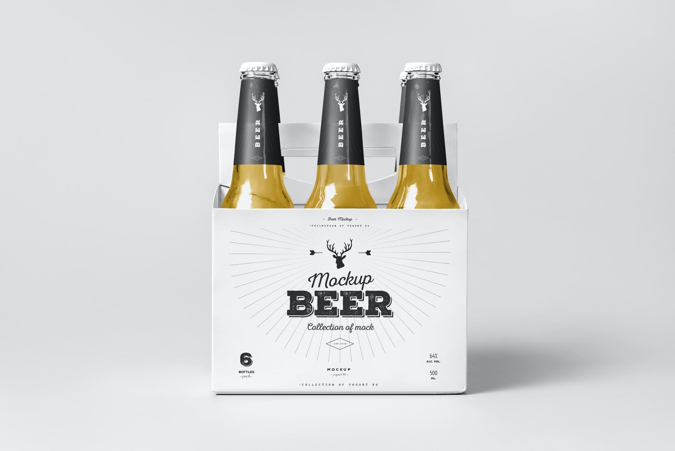 7款啤酒玻璃瓶标签设计展示样机模板 Beer Mockup 5插图(3)