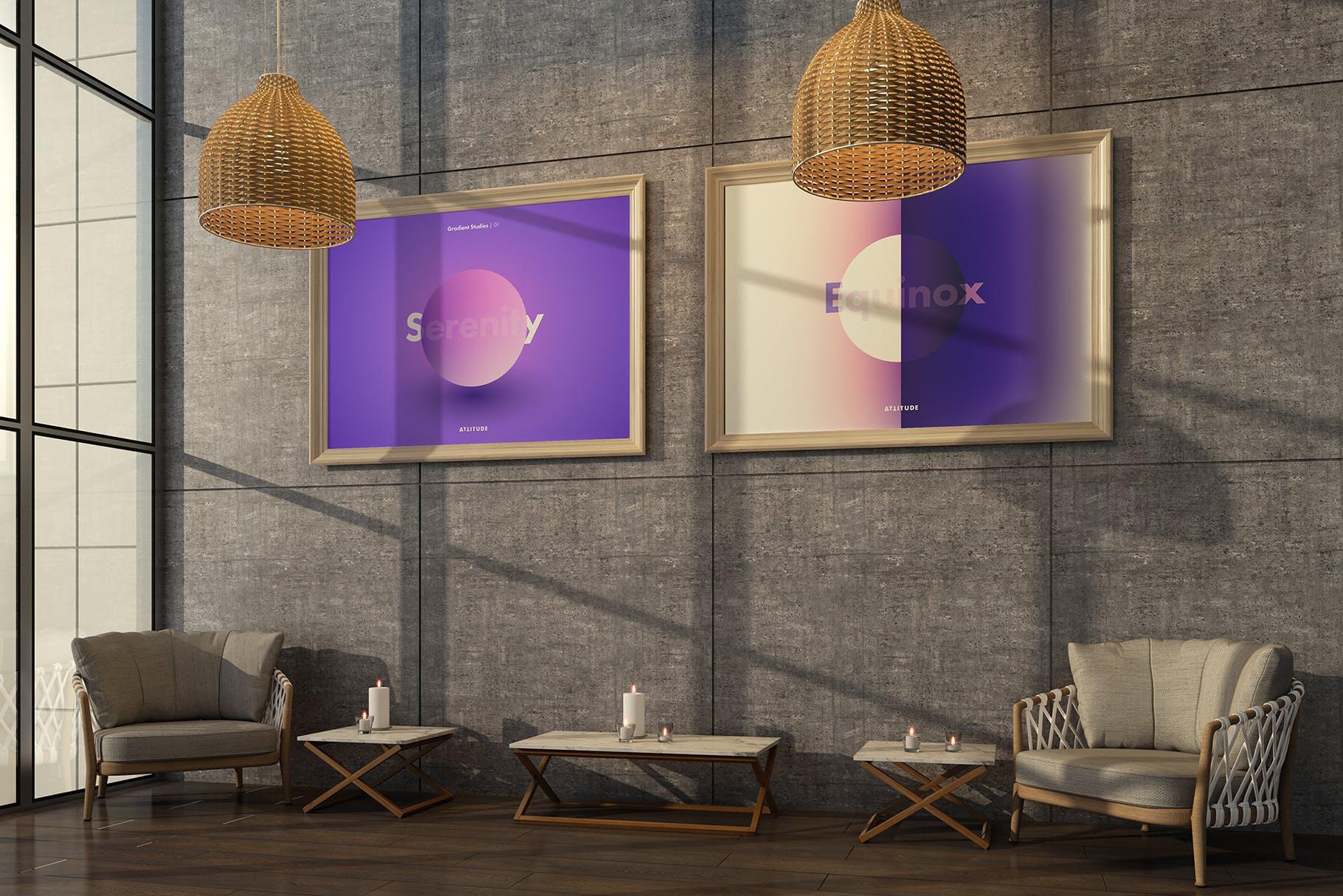 室内走廊相片艺术品海报样机模板 Gallery Mockup 3插图(3)