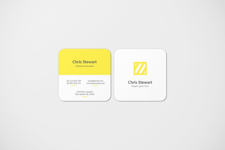 圆角方形商务名片卡片设计智能贴图样机模板 Rounded Square Business Card Mockup插图(3)