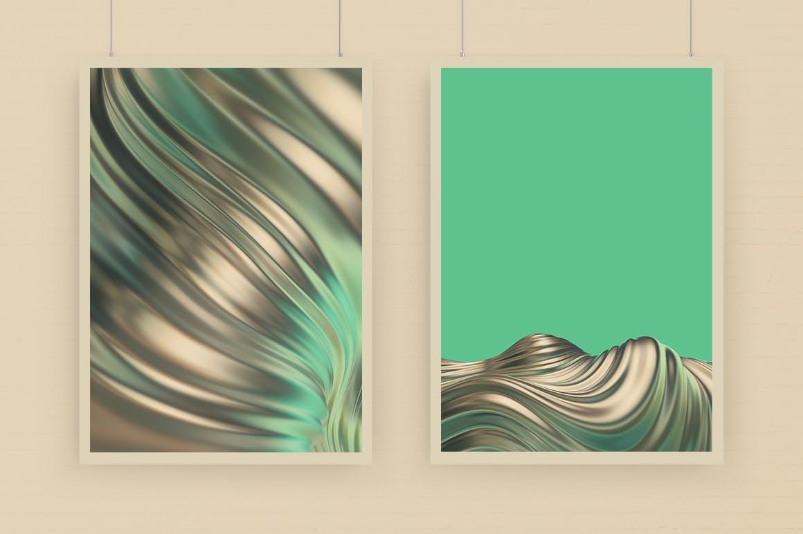 抽象3D波浪条纹金色&绿色背景素材 Abstract 3D Wavy Striped Backgrounds -Gold & Green插图(3)