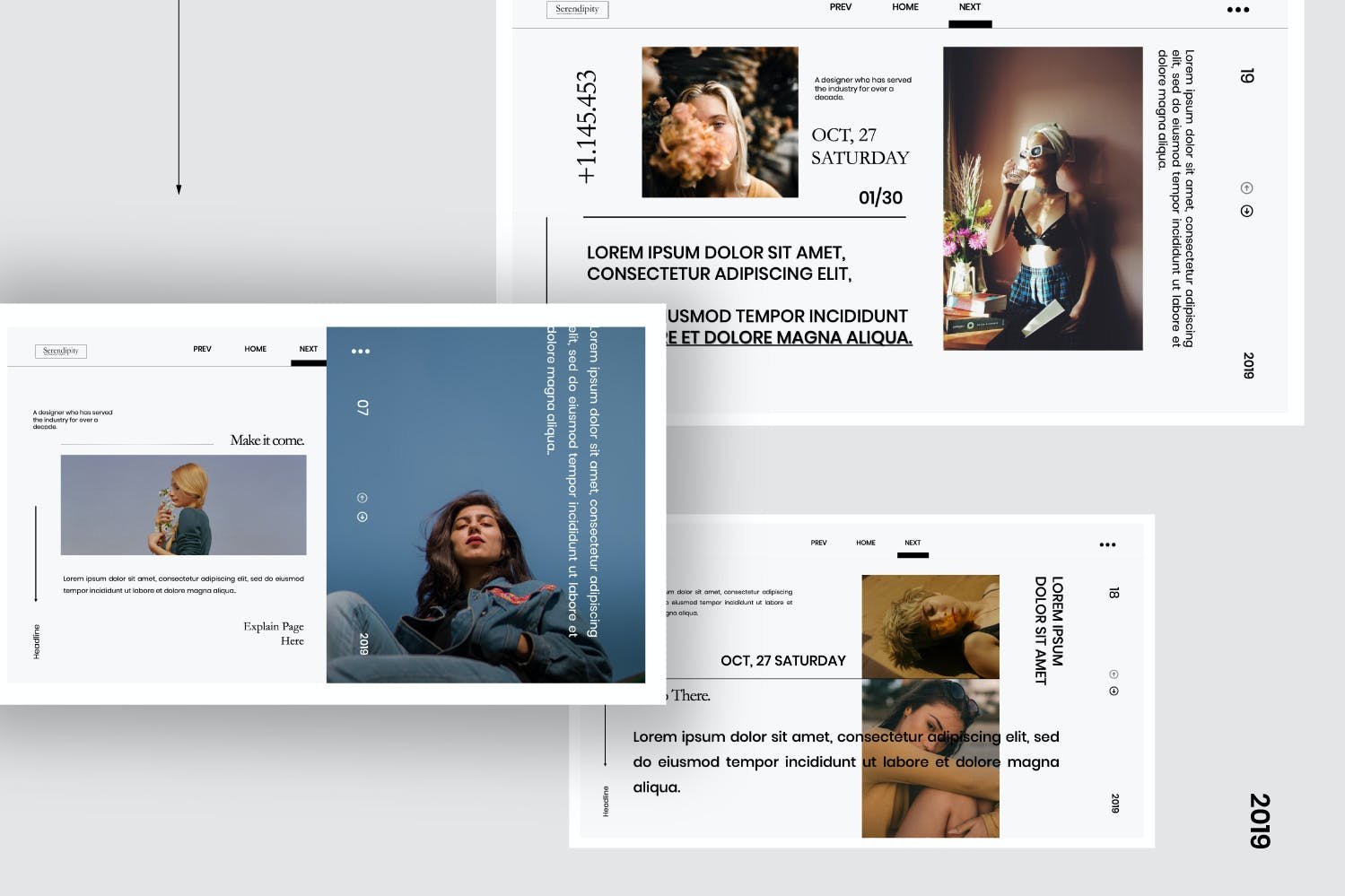 时尚简约服装摄影作品集幻灯片设计模板 Serendipity – Modern Fashion Design Powerpoint插图(3)