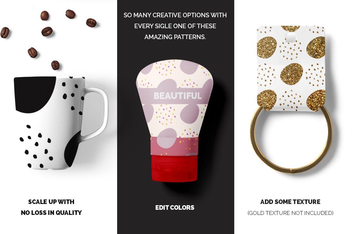 40款点状无缝隙矢量图案背景素材 Dots & Spots Seamless Patterns插图(3)