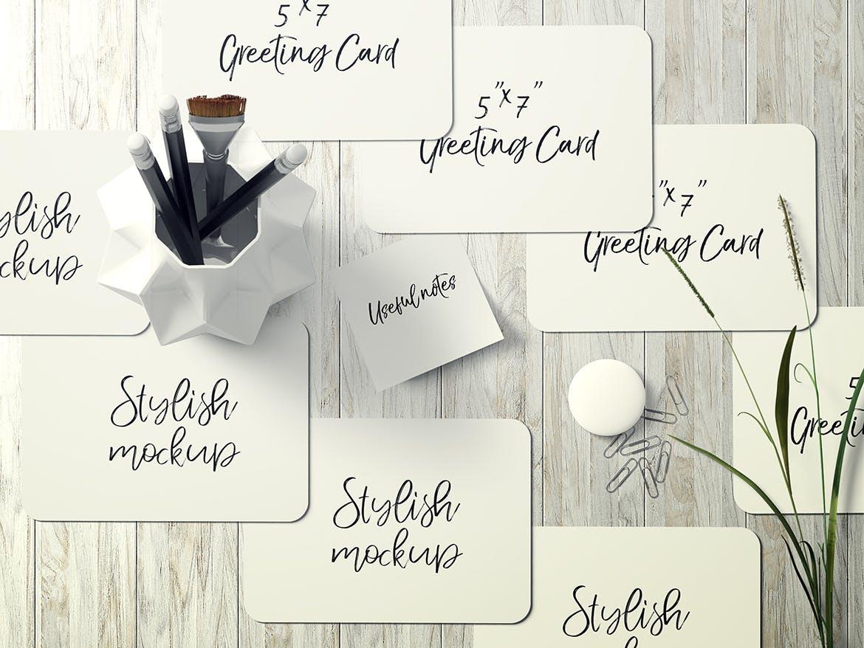 7×5圆角贺卡&明信片设计展示样机套装 7×5 Rounded Corners Greeting Card Mockup Set 2插图(3)