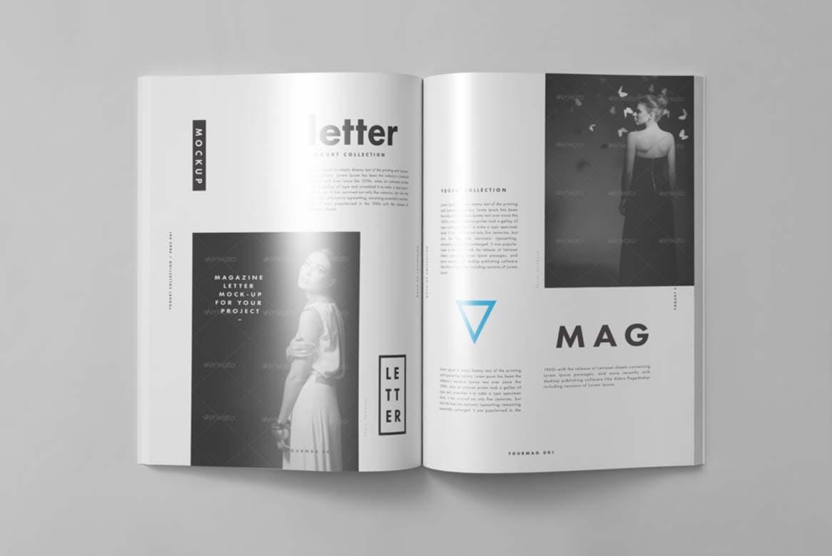 9款杂志画册目录设计展示样机模板 US Letter Magazine Mockup 2插图(3)