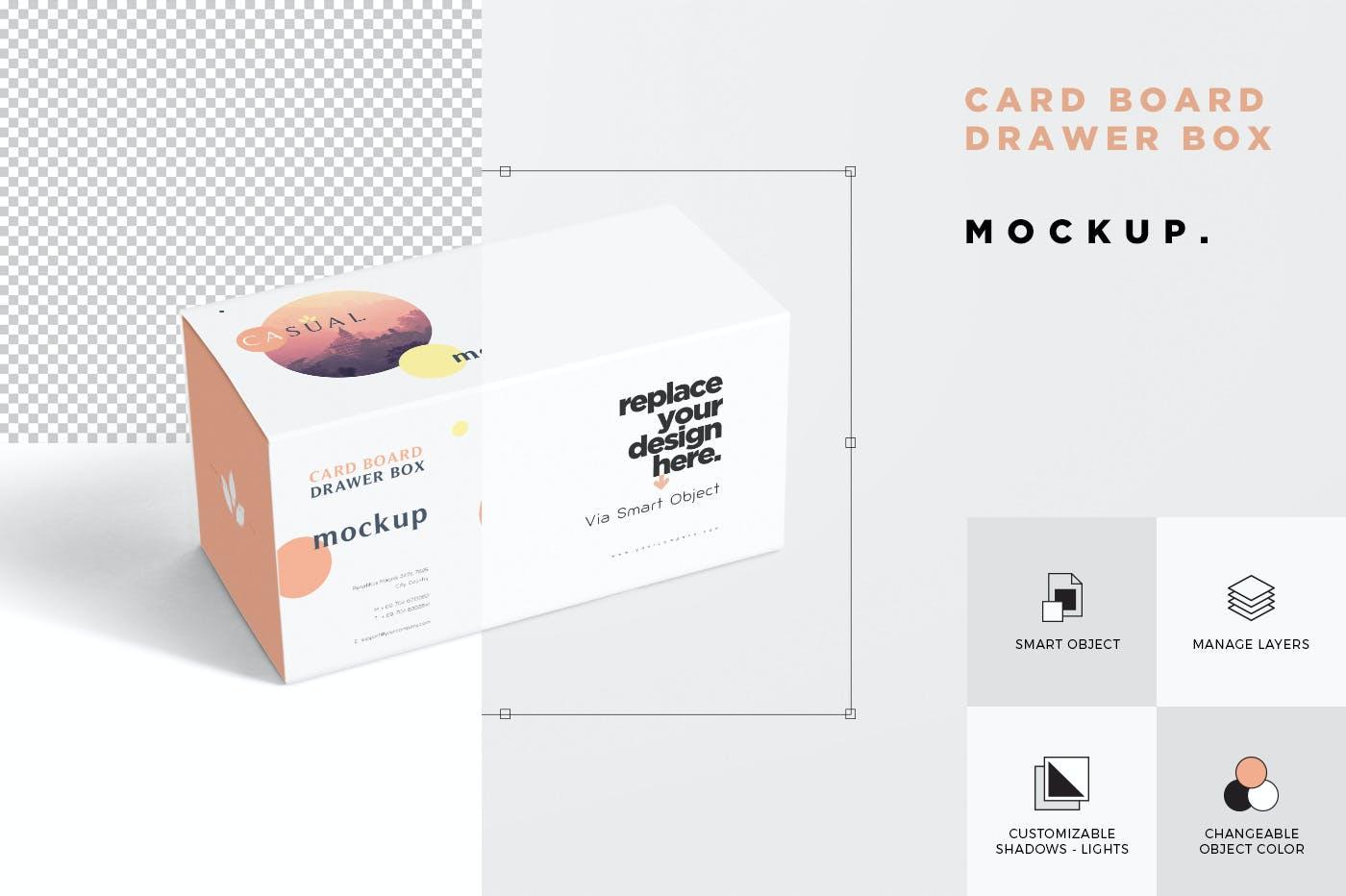 抽屉产品包装盒外观设计样机模板 Drawer Box Mockups插图(3)