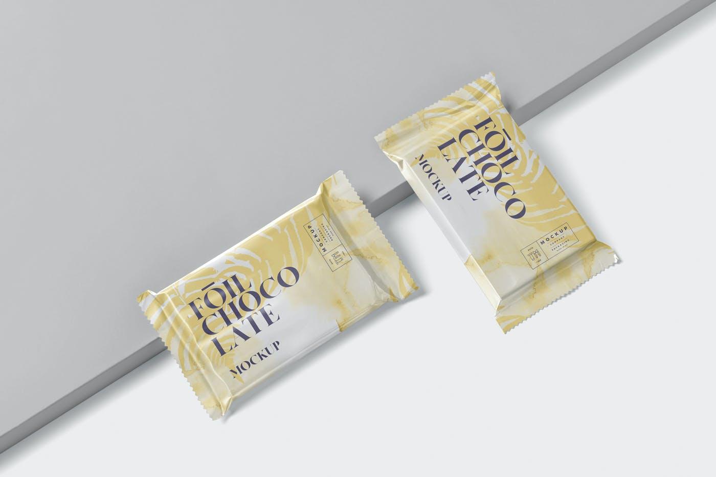 精美铝箔巧克力包装袋设计展示样机 Foil Chocolate Packaging Mockup – Slim Size插图(3)