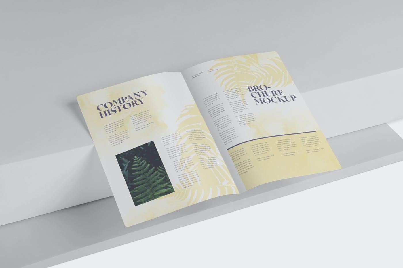 精美A5两折页小册子设计展示样机 A5 Bi-Fold Brochure Mockup Set – Round Corner插图(3)