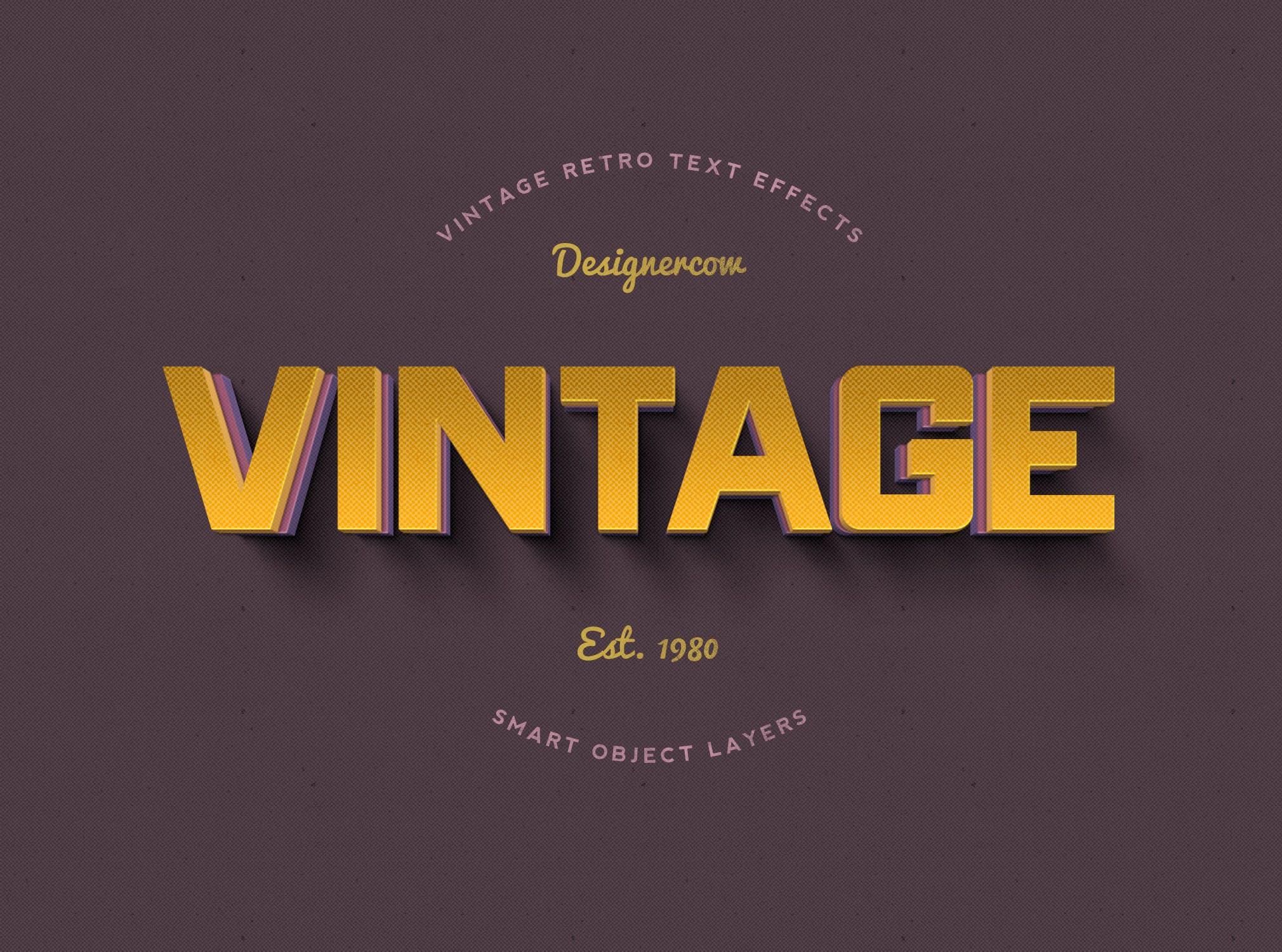 14款老式复古3D立体效果徽标标题字体设计PS样式模板 14 Vintage Retro Text Effects插图(3)