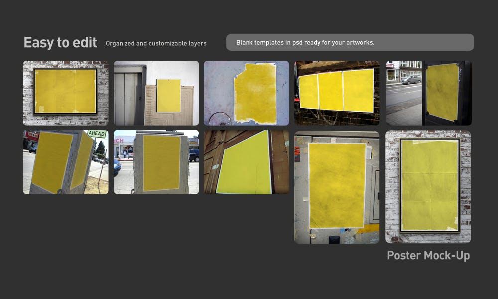 复古做旧褶皱撕裂街头墙贴海报设计展示样机模板 Poster Mockup插图(3)