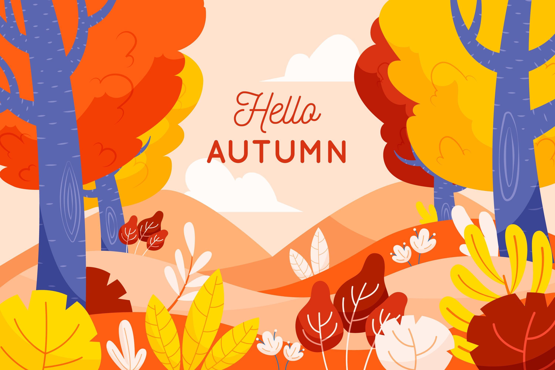 11款多彩秋季元素平面插图矢量素材 Autumn Background Flat Design Illustration Set插图(2)