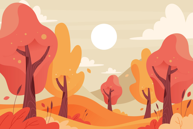 11款多彩秋季元素平面插图矢量素材 Autumn Background Flat Design Illustration Set插图(5)