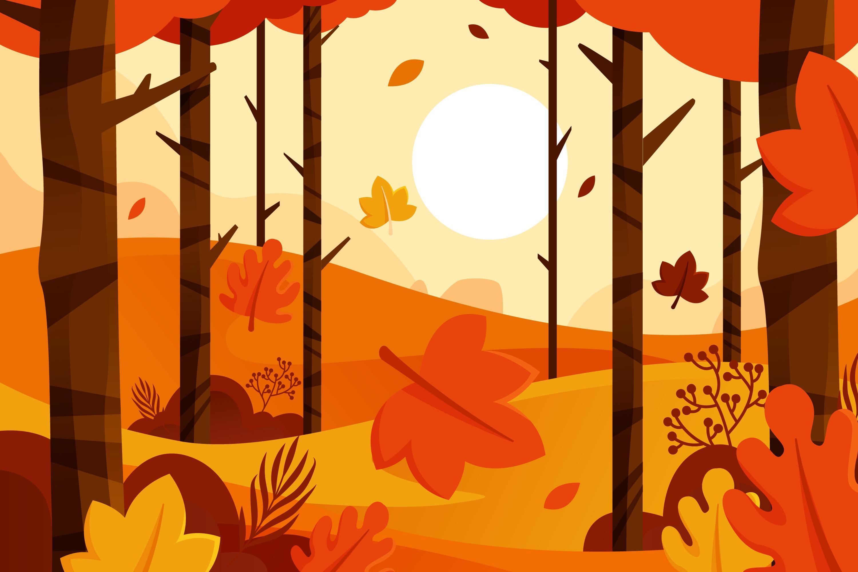 11款多彩秋季元素平面插图矢量素材 Autumn Background Flat Design Illustration Set插图(6)