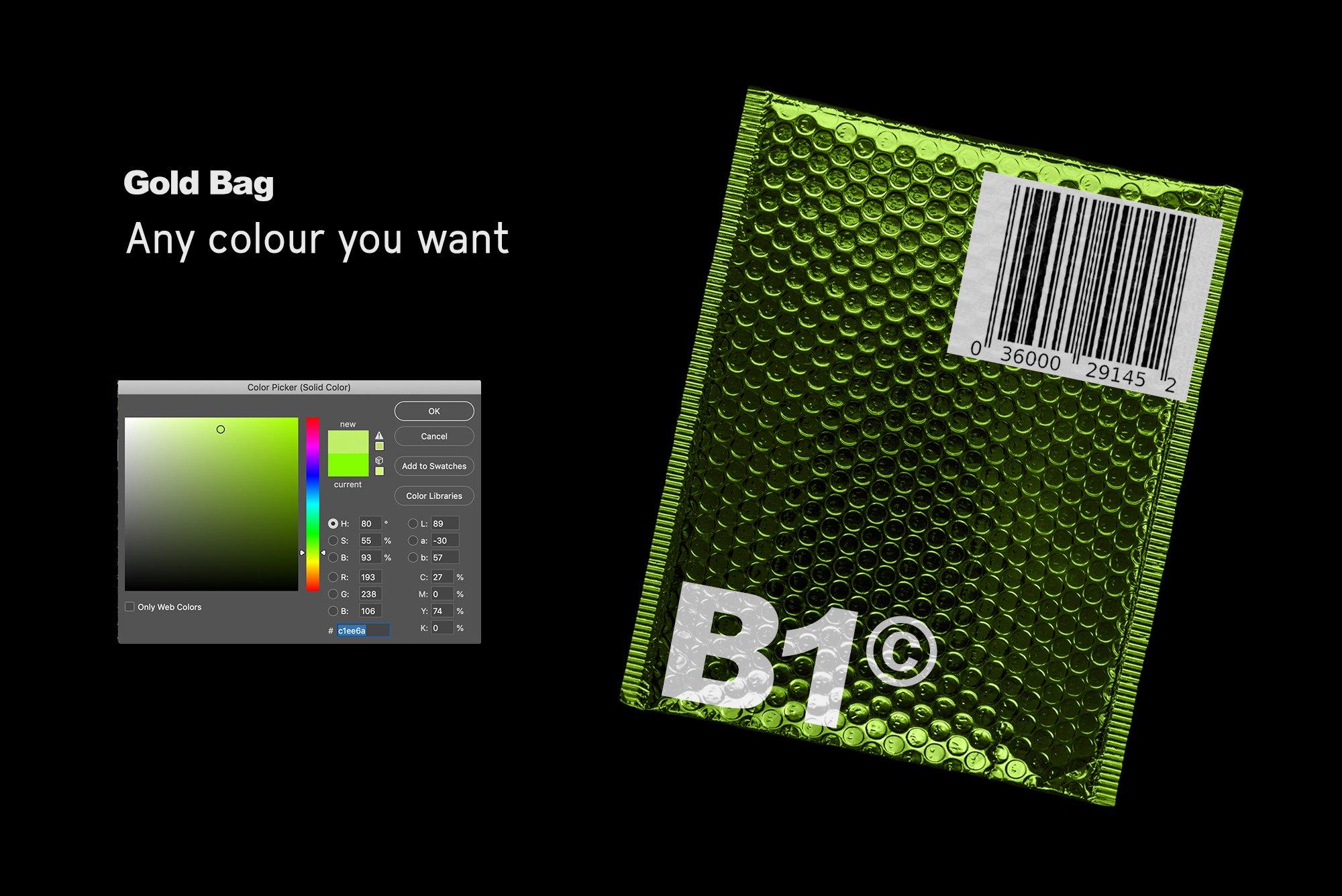 潮流金属铝箔气泡防震邮寄包装袋设计智能贴图样机模板 Gold Plastic Bag Mockup插图(4)