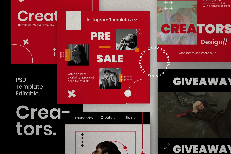 时尚潮流品牌推广新媒体海报设计PSD模板 Creator – Dynamic Social Media Brand插图(3)