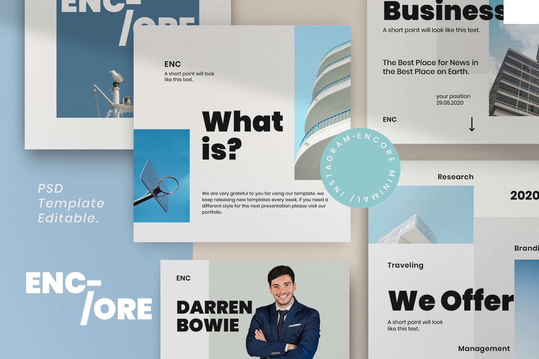 时尚简约城市摄影推广社交新媒体设计模板 ENCORE – Minimal Business Instagram插图
