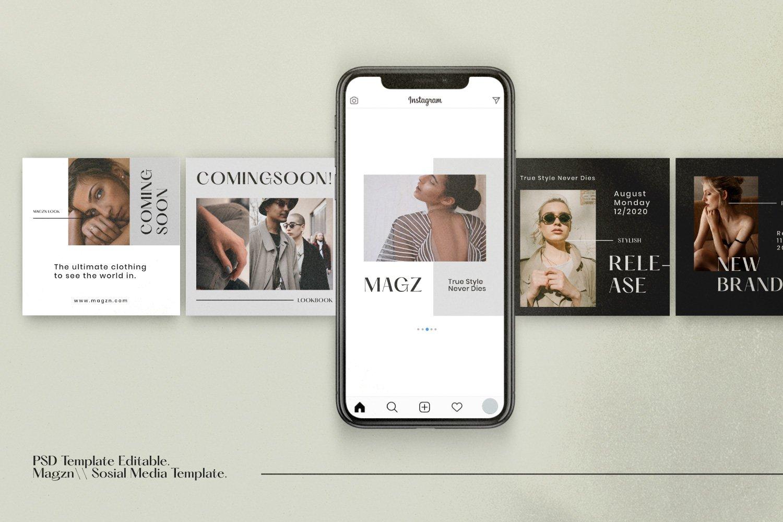 时尚服装品牌摄影推广新媒体海报设计PSD模板 MAGZ – Fashion Brand Social Media插图(4)