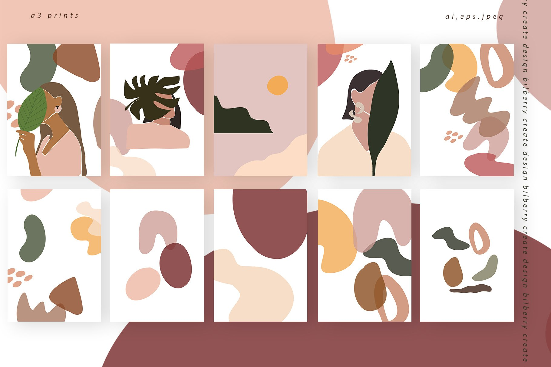 85多个抽象女孩风景形状矢量图案素材 Child Of Flowers Abstract Portrait插图(4)
