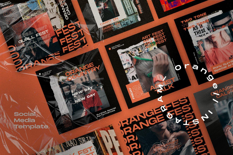 现代潮流撕纸效果品牌推广新媒体海报设计模板 Orange Country – Social Media Pack插图(4)