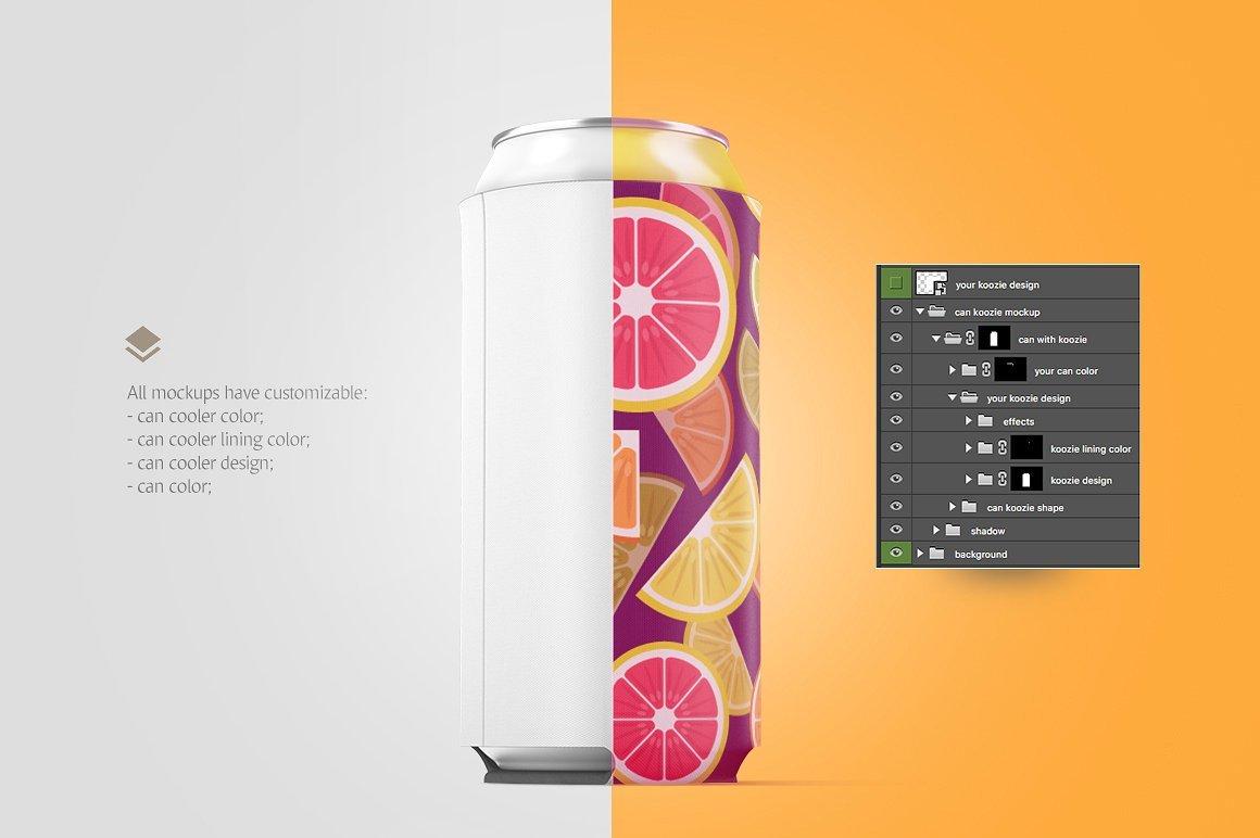 听装啤酒饮料易拉罐外观设计展示样机 Can Koozie Animated Mockup插图(4)
