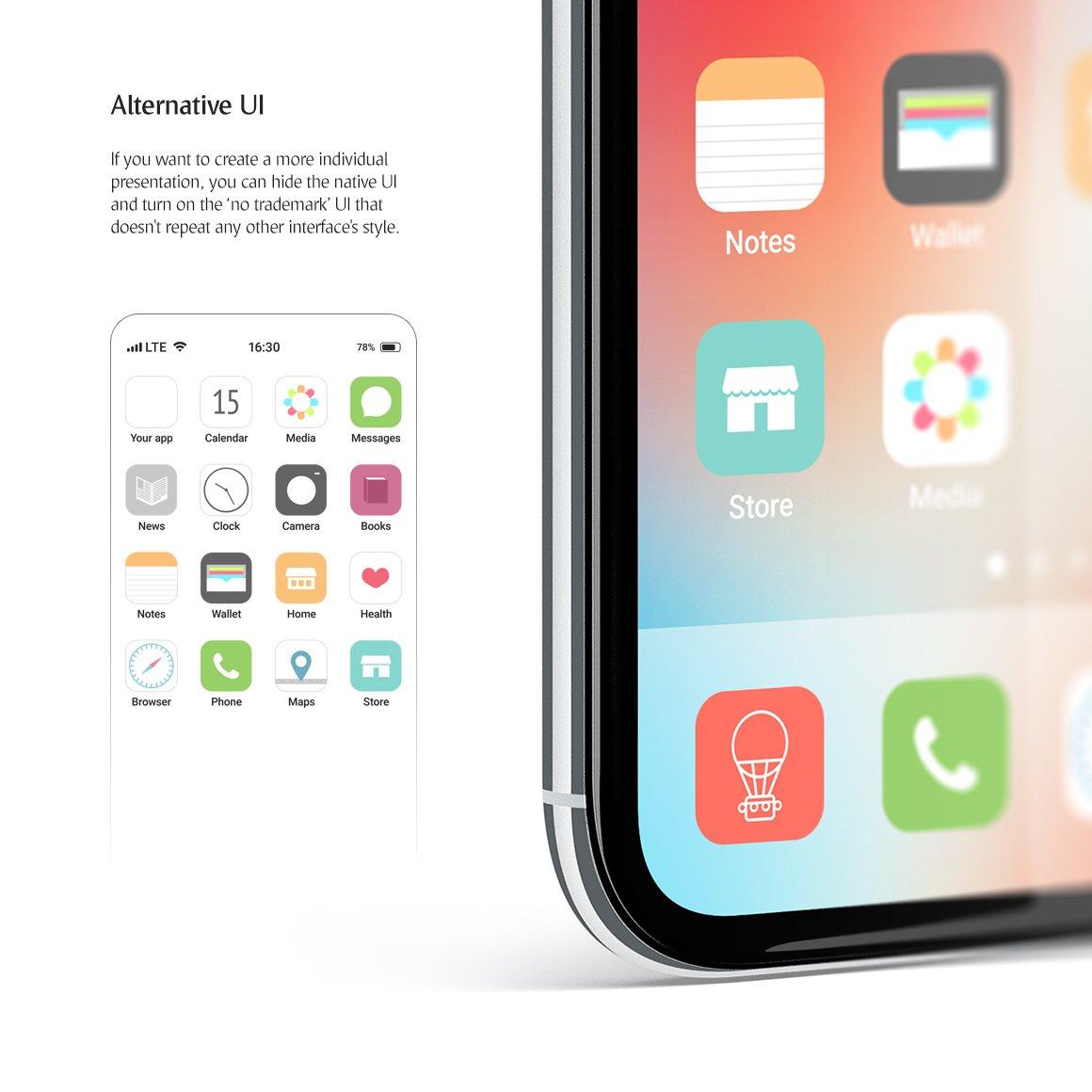 APP应用界面设计手机屏幕演示样机 Phone App Mockups Set插图(4)