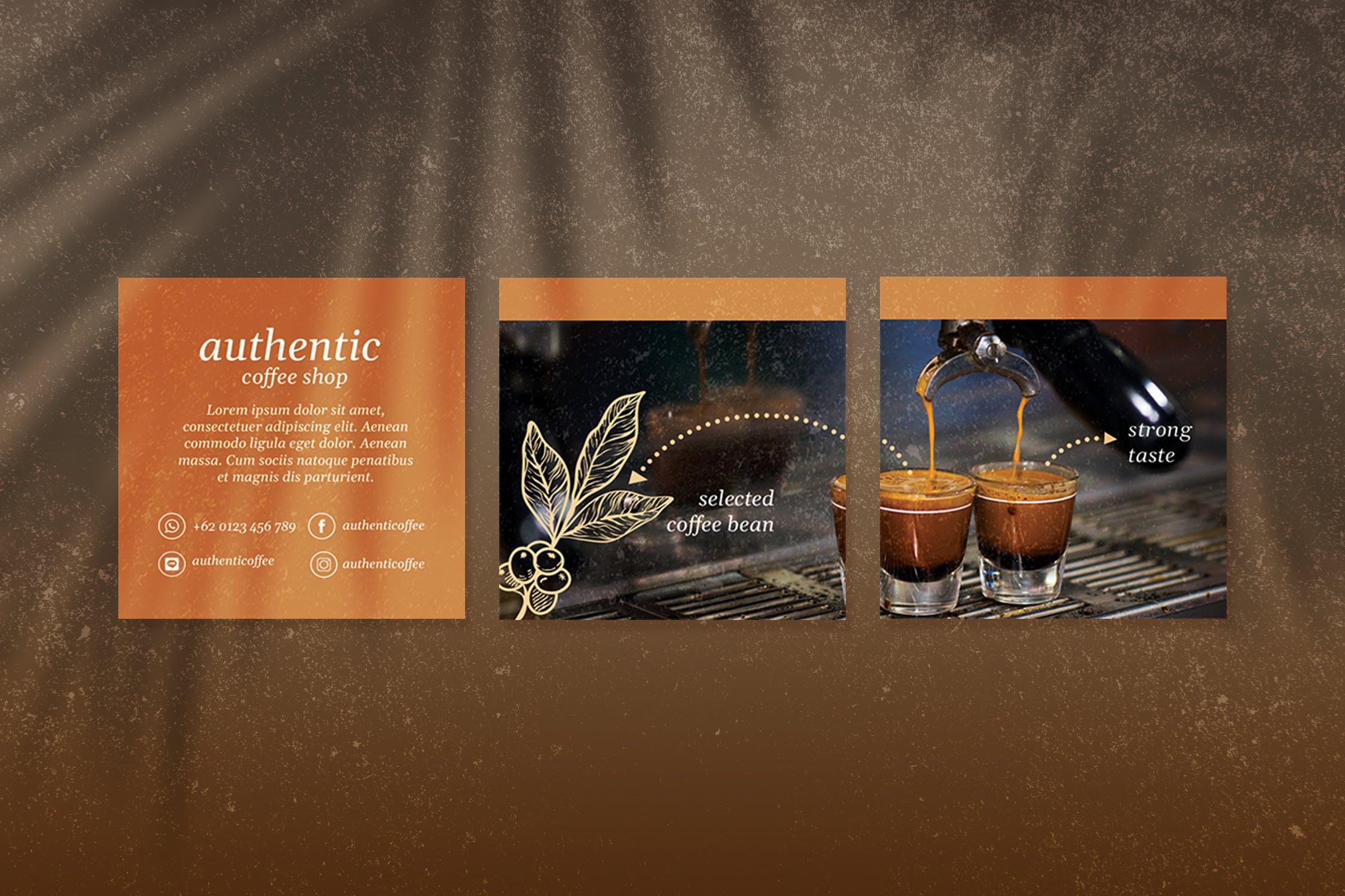 时尚咖啡店品牌推广新媒体海报设计模板 Autenthic Coffee Cafe – Instagram Puzzle插图(4)