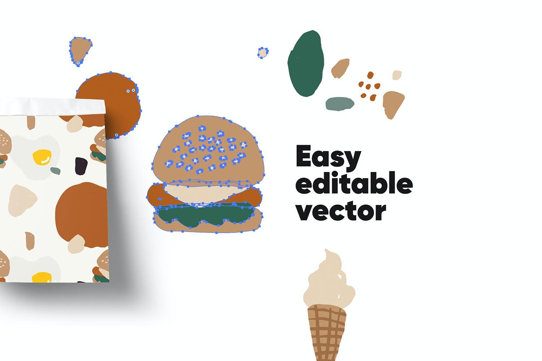 80多个抽象手绘食物包装印花矢量图案素材 Food Abstract Backgrounds & Patterns插图(4)