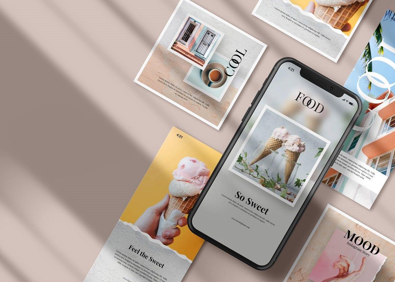 APP应用新媒体海报设计iPhone设计屏幕演示样机模板 Instagram Post & iPhone – Mockup插图(4)