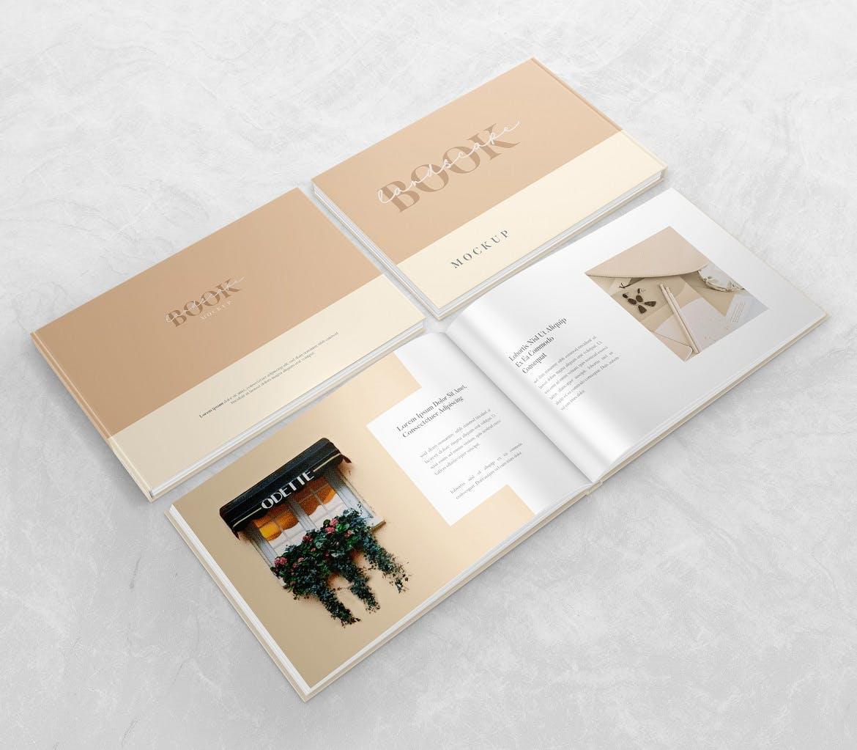 横版精装书画册设计展示样机 Landscape Book – Mockup插图(4)