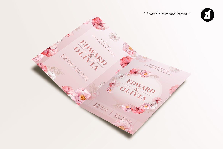 手绘水彩花卉效果婚礼邀请函贺卡卡片设计AI矢量模板 Floral Hand-drawn Watercolor Wedding Invitation插图(4)