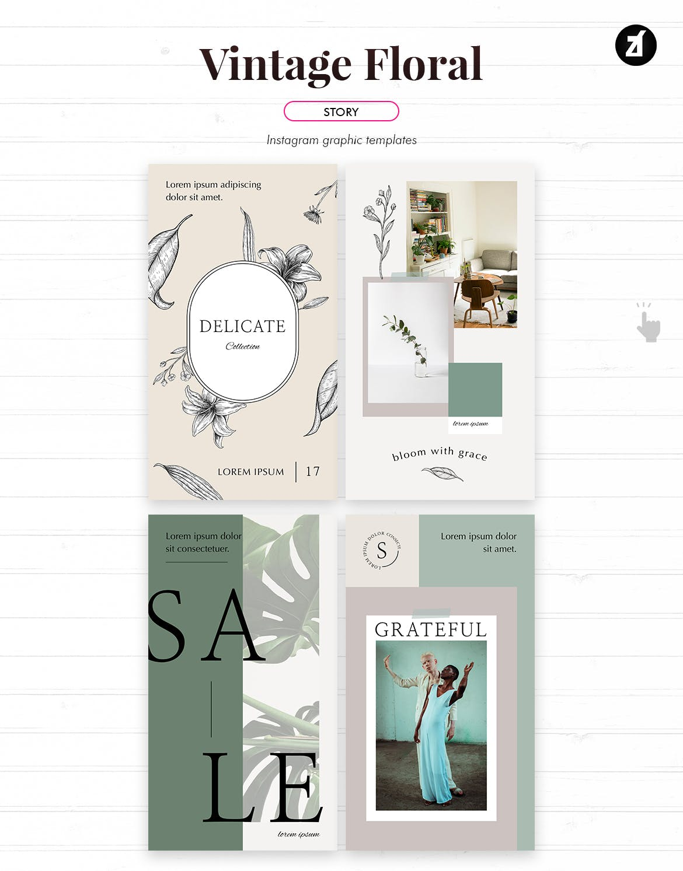 复古花卉品牌推广社交新媒体海报设计PSD模板 Vintage Floral Social Media Graphic Templates插图(4)