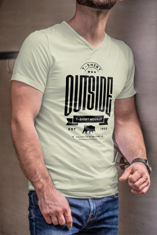 10款男士T恤印花设计展示样机模板 T-Shirt Mockup 5插图(4)